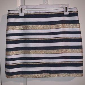 J.Crew Gold Navy White Striped Skirt